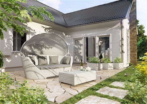 PORTOFINO pohovka z umelého ratanu biela - záhrada