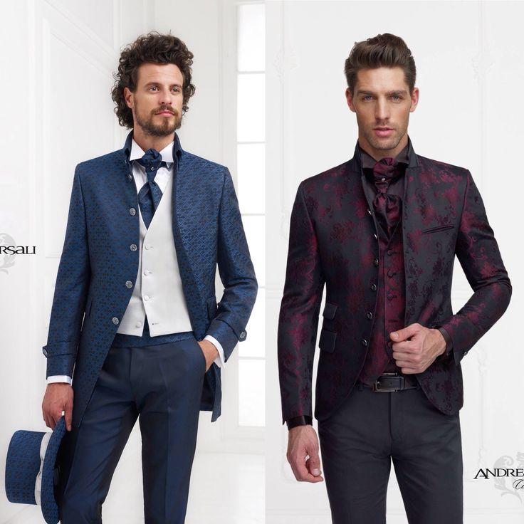A sinistra giacca in stile Coreana con fantasie di colori nero e Vinaccia. A destra  giacca in stile Marsina color blu. Due esempi di tessuto #Jacquard, per l'uomo che ama sorprendere senza abbandonarsi all'eccentricità. #TuttevoglionoAndrea #AndreaVersaliCerimonia