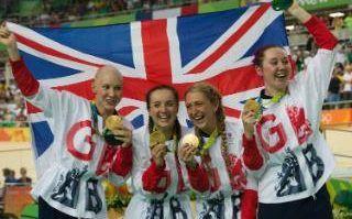 GB Team Women's Team celebrate gold