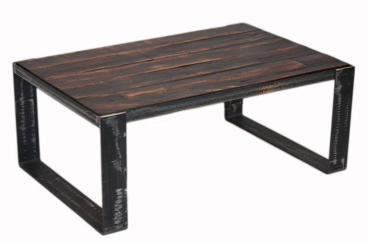 Table basse en bois de grange #table #living #room #acier #steel #meuble #furniture #industriel #industrial #design #wood #bois
