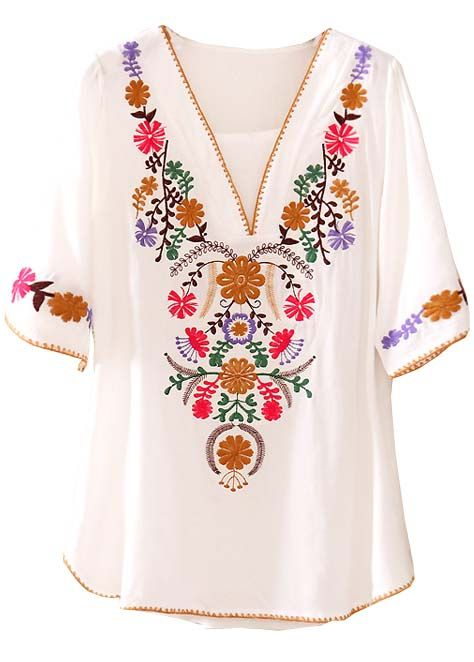 White V Neck Short Sleeve Embroidery Loose Blouse