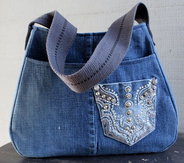 Denim Handbag with Large Front Pocket, Back Zipper Pocket, Interior Pockets and Lined with a Gray/White Polka Dot Cotton 272438174 by AllintheJeans on Etsy