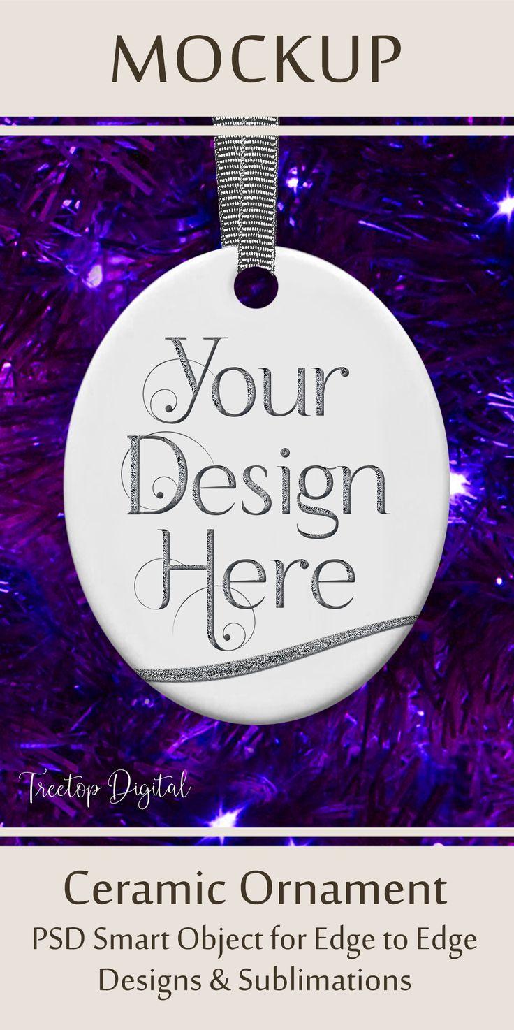 Oval Christmas Ornament Mockup, Bauble MockUp, Purples
