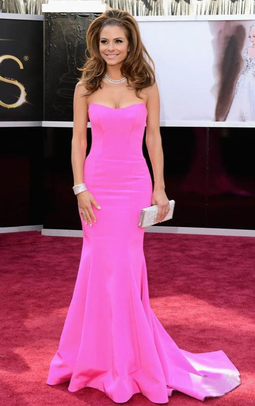 Maria Menounos Style Satin Low Cut Sweep Train Pleats Dress At 85th Oscar's Red Carpet