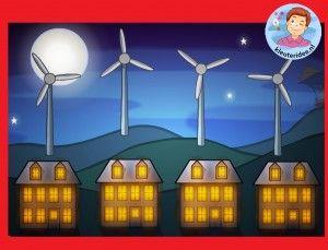 Laat de lampen in het huis branden met windenergie, kleuters op het digibord of computer, kleuteridee
