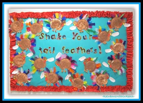 """""""Shake Your Tail Feathers!"""" Thanksgiving Bulletin Board Idea"""