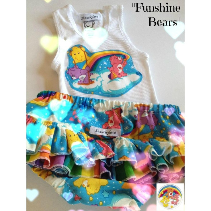 $42.00 sz 3 to6 m FUNSHINE BEARS RNC and and matching singlet by Shnuckylove on Handmade Australia