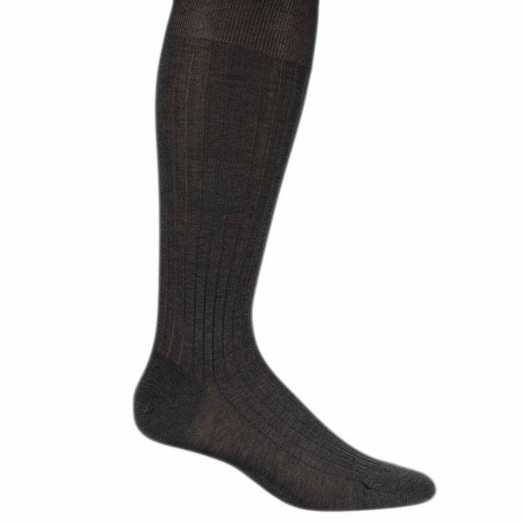 "Mid Gray Egyptian cotton Bresciani dress socks (up to 12.5"")"