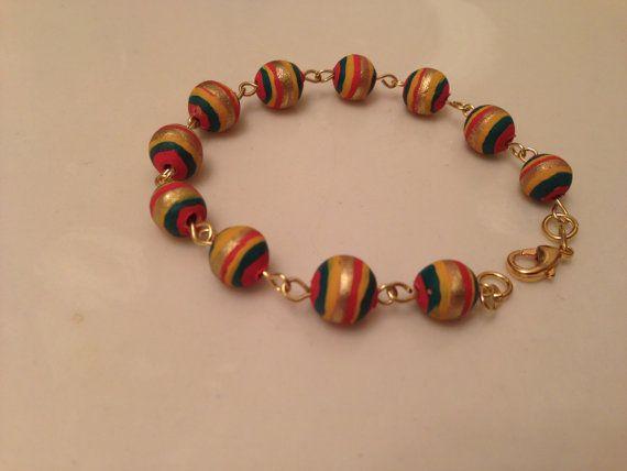 Beautiful handmade clay bracelet by Shezas on Etsy