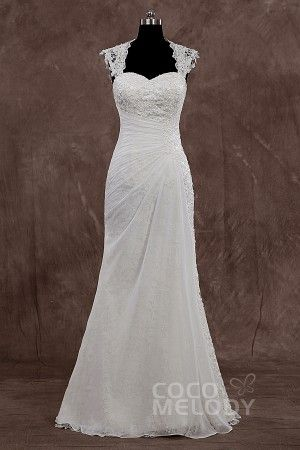New Style Queen Anne Floor Length Chiffon Ivory Sleeveless Wedding Dress with Appliques LD3618