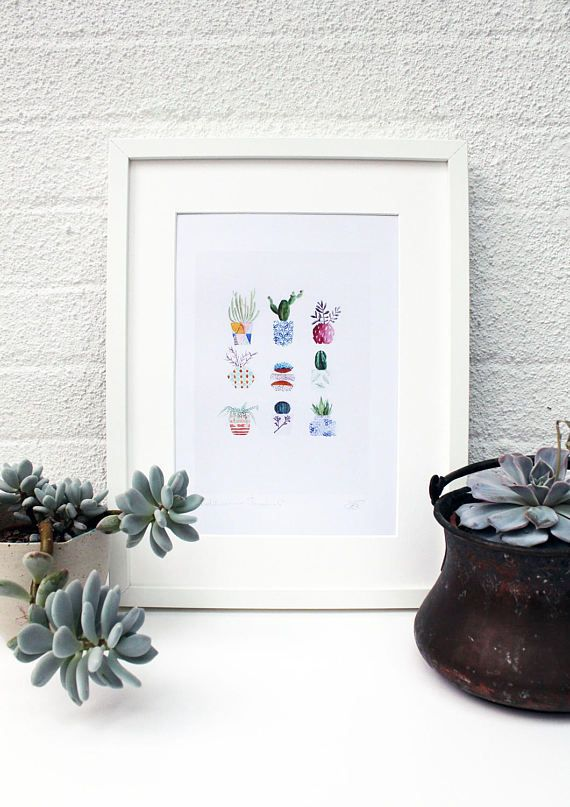 Cactus print succulent print plant print potted cactus