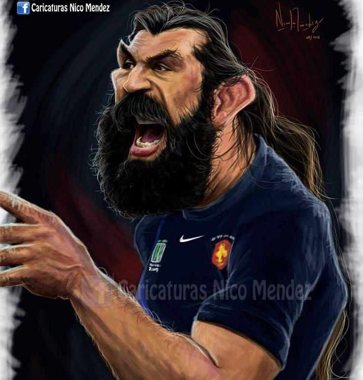 (Caricatura) Sébastien Chabal / El francés uno de los mejores jugadores de Rugby de todos los tiempos y dueño de una excéntrica apariencia que acompaña con un gran temperamento.