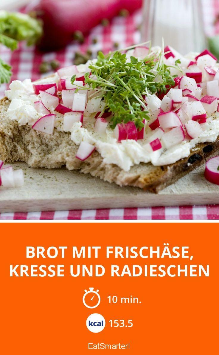 Brot mit Frischäse, Kresse und Radieschen | Kalorien: 153.5 Kcal - Zeit: 10 Min. | eatsmarter.de