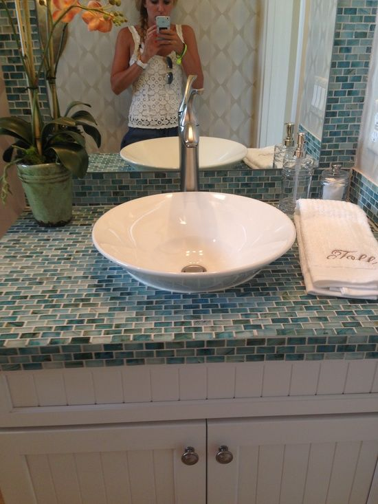 Love the idea of using tile to create a seamless backsplash and countertop   Pretty cost effective too    Bathroom Decor   Pinterest   Subway tile  showers. Love the idea of using tile to create a seamless backsplash and