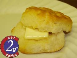 Carbquik Recipe: Cut Buttermilk Biscuits   --- 2, yes two carbs per biscuit    Servings: 16  Net Carbs Per Serving: 2g  Total Preparation Time: 15 minutes      Ingredients:  2 cups Carbquik™  1/2 cup heavy cream  1/8 cup water        Instructions:  -Preheat oven to 350ºF. Place dry mix in mixer bowl. On low speed, slowly add liquid until dough forms. Do not overwork dough.   -Roll to ½ inch thick sheet.   -Cut 2 inch circles, place on greased baking sheet.   -Bake for 15 minutes or until…