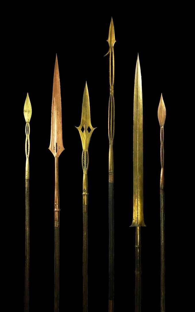 6 Yakoma money spears - Primitive Money - African Weapons