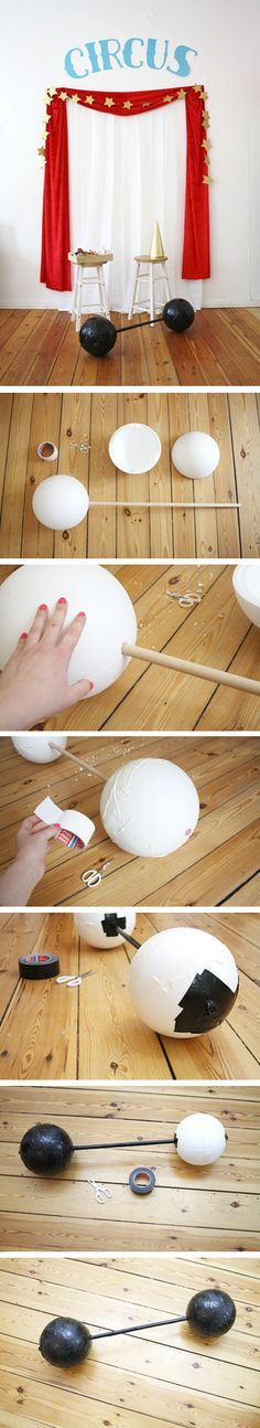 Circus Party time! Make your own fake-barbell for the strongest person alive. Hooray for DIY costumes!