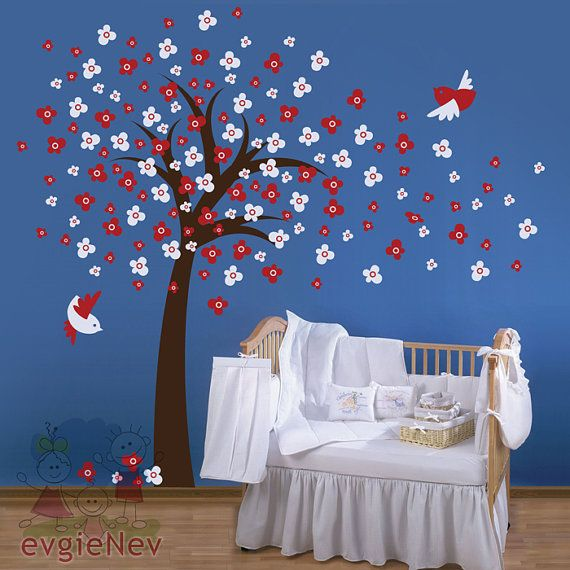"""Now this is one of the classiest uses of these wall decals I've seen (and I usually think, """"mmmm...not quite."""")  Really charming.  [Nursery Kids Removable Wall Vinyl Decal  Windy Tree by evgieNev, $85.00]"""