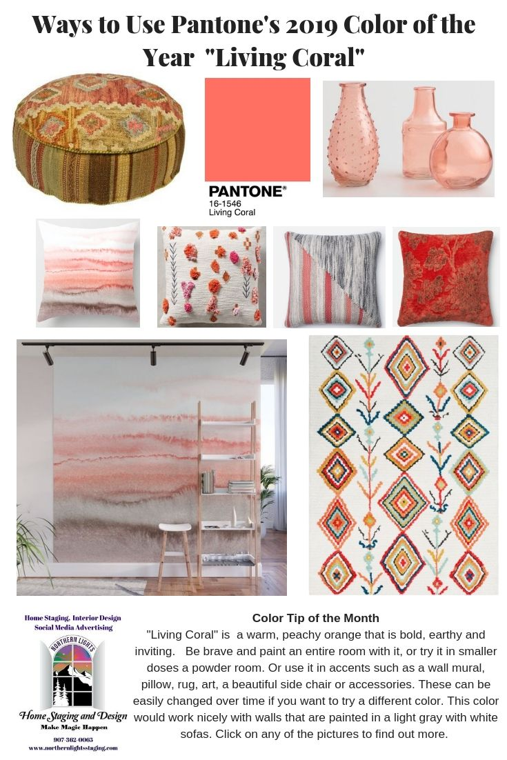 Using Pantone S Color Of The Year Living Coral Interior Design Home Interior Design Home Staging