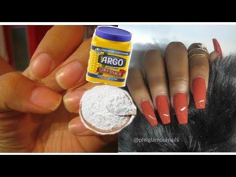 diy fake nails using cornstarch  no acrylic  easy