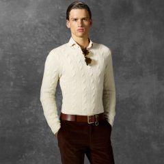 Cable-Knit Cashmere Sweater - Purple Label Crewneck - RalphLauren.com