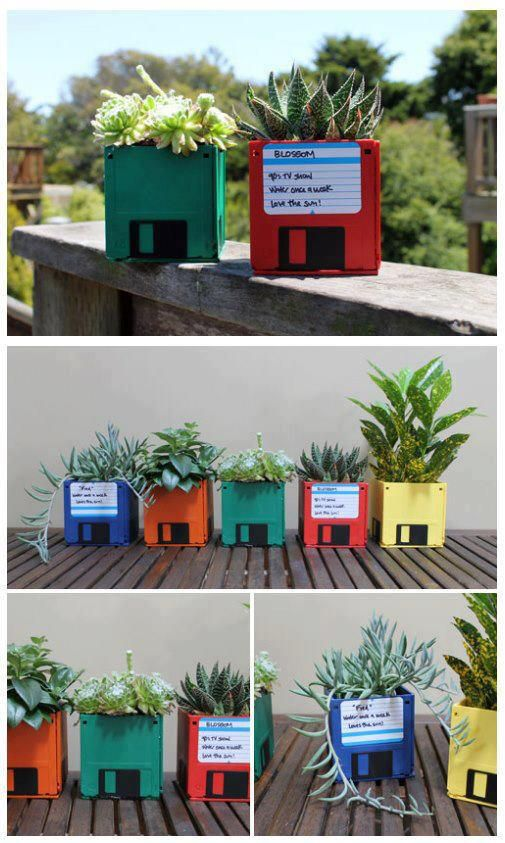 remember those good old floppy drives / diskettes? they make great and geeky flower pots! – decor and recycling tip