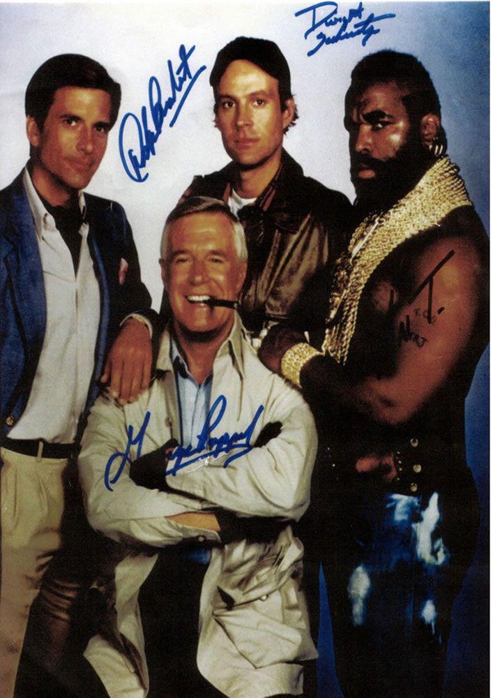 The A-Team (1983/87 jan23/mar8, S1-5 NBC) starring George Peppard as John 'Hannibal' Smith (film Liam Neeson) + Dwight Schultz as 'Howling Mad' Murdock (film Sharlto Copley) + Mr. T as B.A. Baracus (filmQuinton 'Rampage' Jackson) +  Dirk Benedict as Templeton 'Faceman' Peck (film Bradley Cooper)  *wiki: tv http://en.wikipedia.org/wiki/A-Team  *imdb: tv  www.imdb.com/title/tt0084967/?ref_=sr_2  *imdb: movie: www.imdb.com/title/tt0429493  *wiki: film…