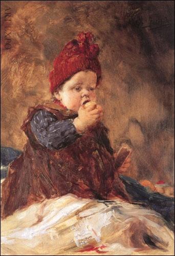 """''Child eating an apple'' by Georgios Iakovidis (1853 – 1932, Greek) """"Το παιδί με το μήλο"""", Ιακωβίδης"""