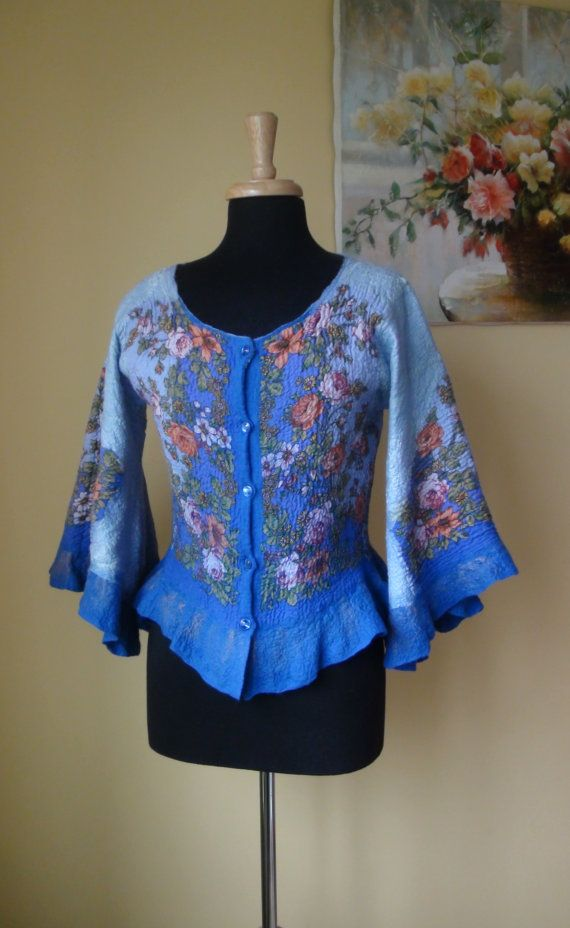 Nuno felted jacket cardigan Reversible 2 in 1 by HandyMaria, $230.00