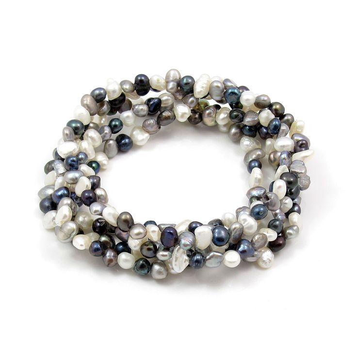 Brățară multișir Orchira cu perle de cultură neregulate alb, argintiu, negru indigo