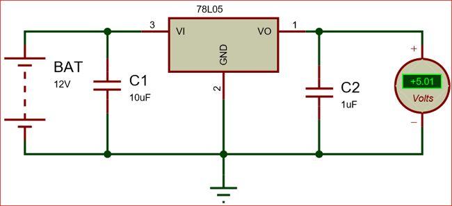 Circuit Using 78L05 Voltage Regulator