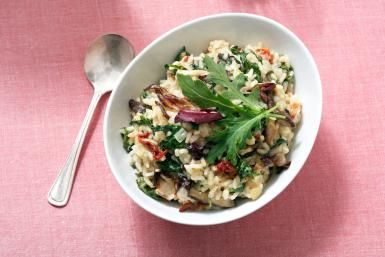 Kale Italia Risotto with Shiitake Mushrooms and Sun-dried Tomatoes