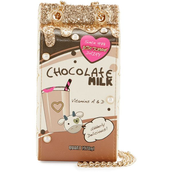 Betsey Johnson Kitsch Chocolate Milk Crossbody Bag ($53) ❤ liked on Polyvore featuring bags, handbags, shoulder bags, multi, metallic shoulder bag, quilted shoulder bag, metallic purse, quilted chain strap shoulder bag and quilted handbags