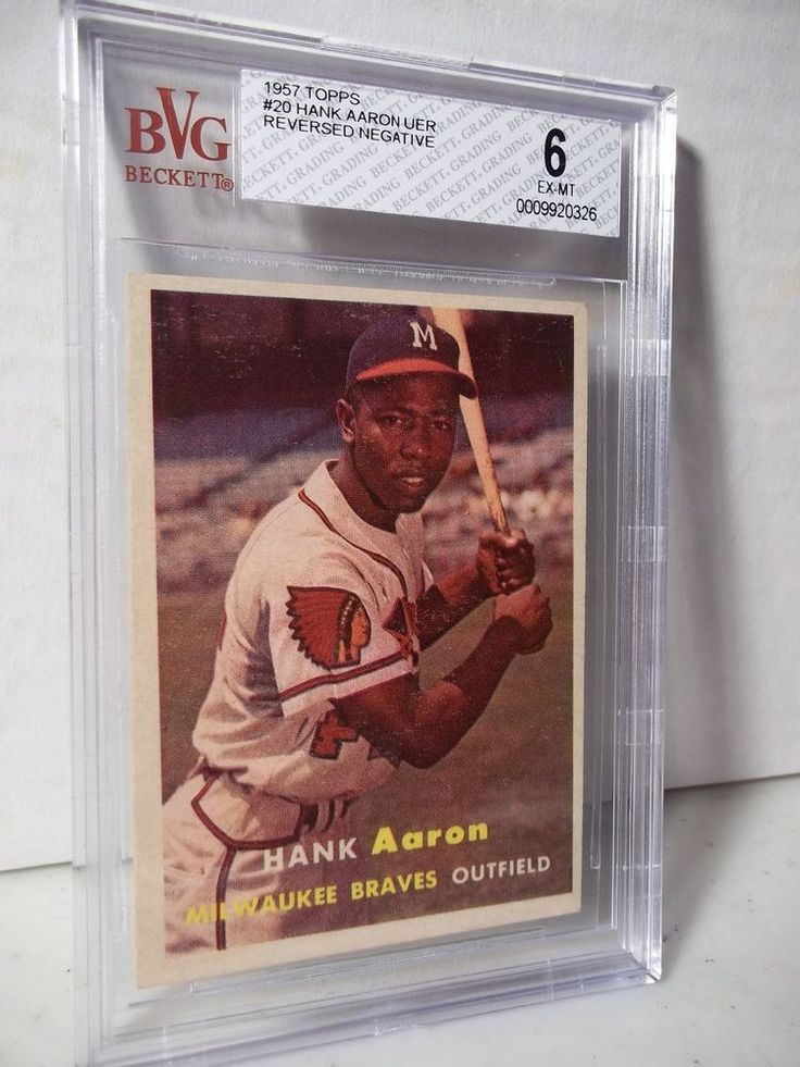 1957 Topps Hank Aaron BVG EX-MT 6 Baseball Card #20 MLB HOF Collectible #MilwaukeeBraves
