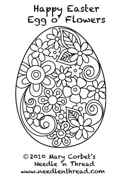 Free Hand Embroidery Pattern: Easter Egg with Flowers