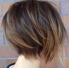 Love the movement to the back of this pixie  da mining neckline  and balayage