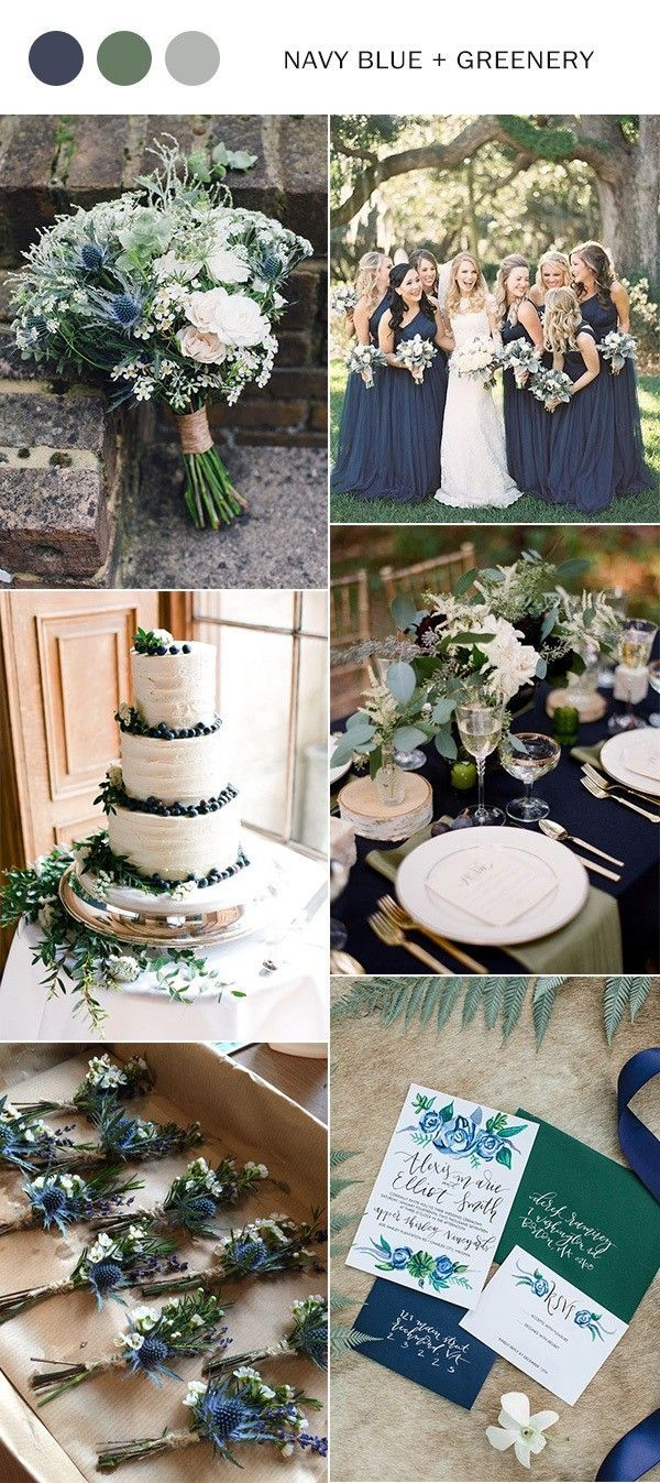 navy blue and greenery wedding color inspiration f…