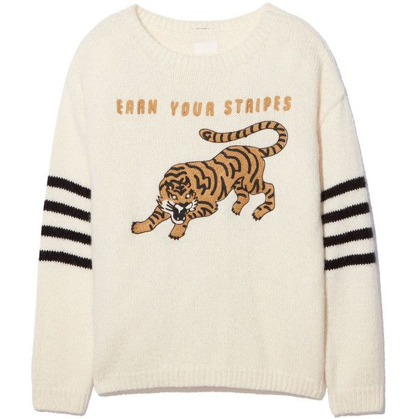 Earn Your Stripes Jumper ❤ liked on Polyvore featuring tops, sweaters, crew top, crew neck sweater, stripe top, striped jumper and crew neck tops