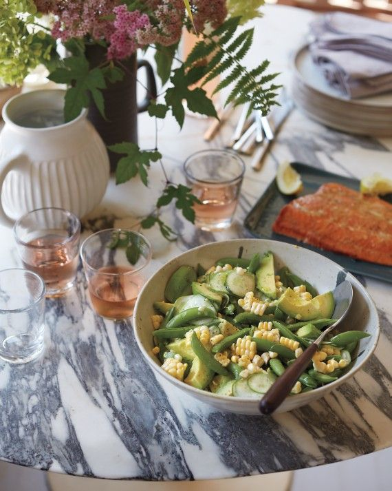 """Planked salmon with a salad could not be easier (the leftover fish becomes protein for Sunday's nicoise).Get the Recipes:Cedar-Planked Salmon Crunchy Summer SaladPlatter, by Mud Australia, $96, shophorne.com Dinner plates, by Adonde, in natural, 10 1/4"""", $32 each, module-r.com"""