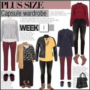 Week 1 plus size outfits from capsule wardrobe 1