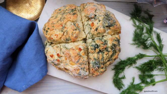 Damper with Feta, dill and pine nuts