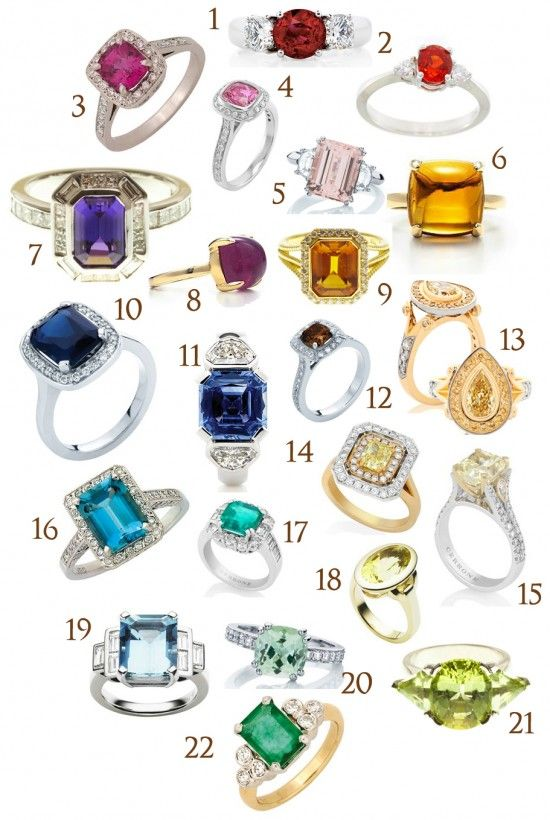 So many colored engagement rings!