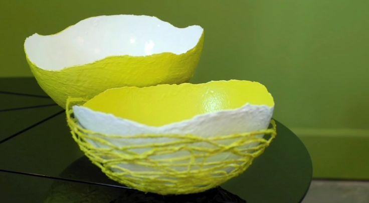 m.b.v tempex bol of ballon een schaal van gips maken en daarom een draad met textiel verharder wikkelen