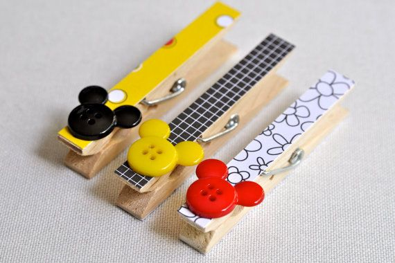 Clothespin Magnet photo hangers DIsney Mickey by owlpaperscissors