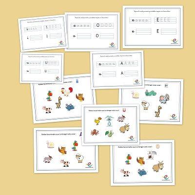 Fichas de vocales. Fichas de lengua para primaria