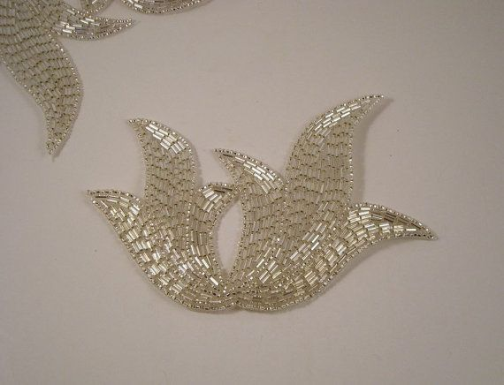 Large Silver Beaded Deco Design AppliqueOne by fabricsandtrimmings, $8.77