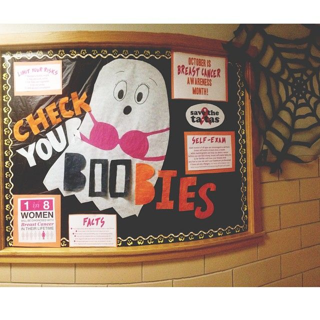 """Check Your """"Boo""""bies! October- RA Halloween Themed Breast Cancer Awareness Bulletin Board #college #residencelife #checkyourboobies"""