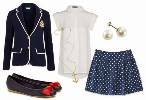 blazer, bow flats, polka dot skirt, anchor necklace, pearl earrings // the daily dani: Perfect & Preppy: Joules USA