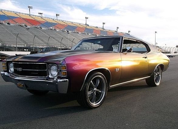 1971 Chevelle SS. (HOW COOL IS THIS PAINT-JOB?!!)  If they did this to a '71 Nova SS, I don't think I'd recover.  ;^)