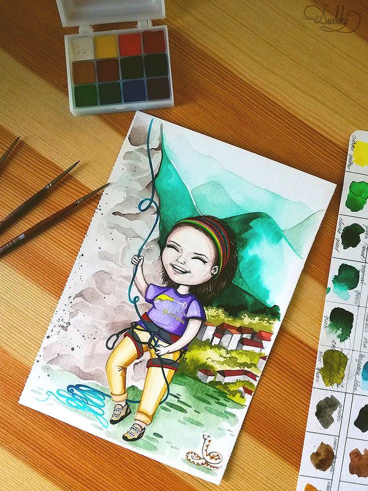 portrait by #dushky | #art #illustration #painting #watercolor #portrait #cute #bobblehead #girl #mountain #climbing